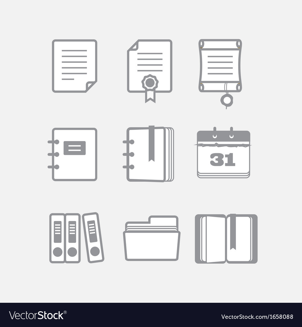 Office documents icons set vector | Price: 1 Credit (USD $1)