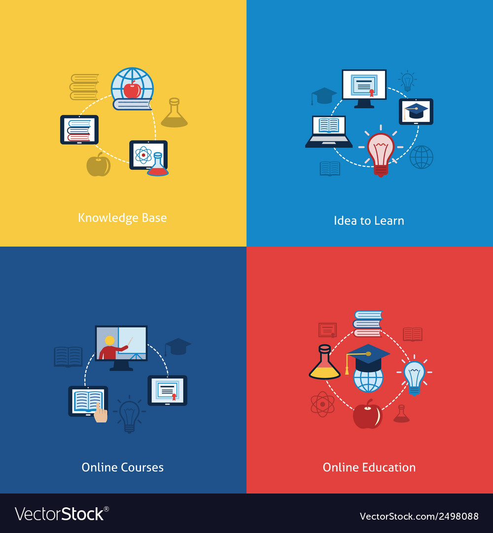 Online education icon flat vector | Price: 1 Credit (USD $1)