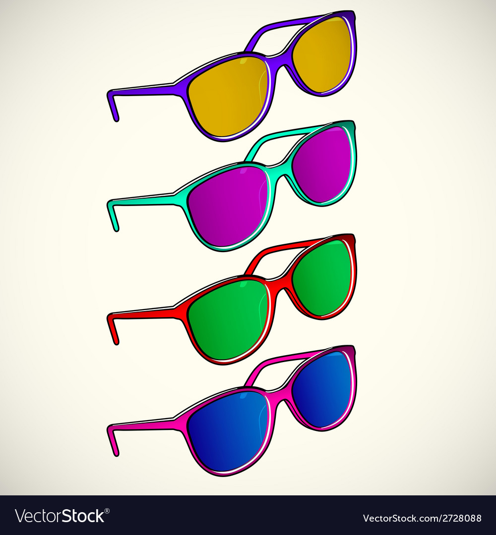 Retro sun glasses summer plastic lens color vector | Price: 1 Credit (USD $1)