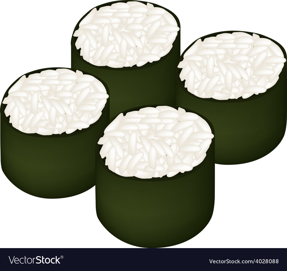 Rice maki sushi roll on white background vector | Price: 1 Credit (USD $1)