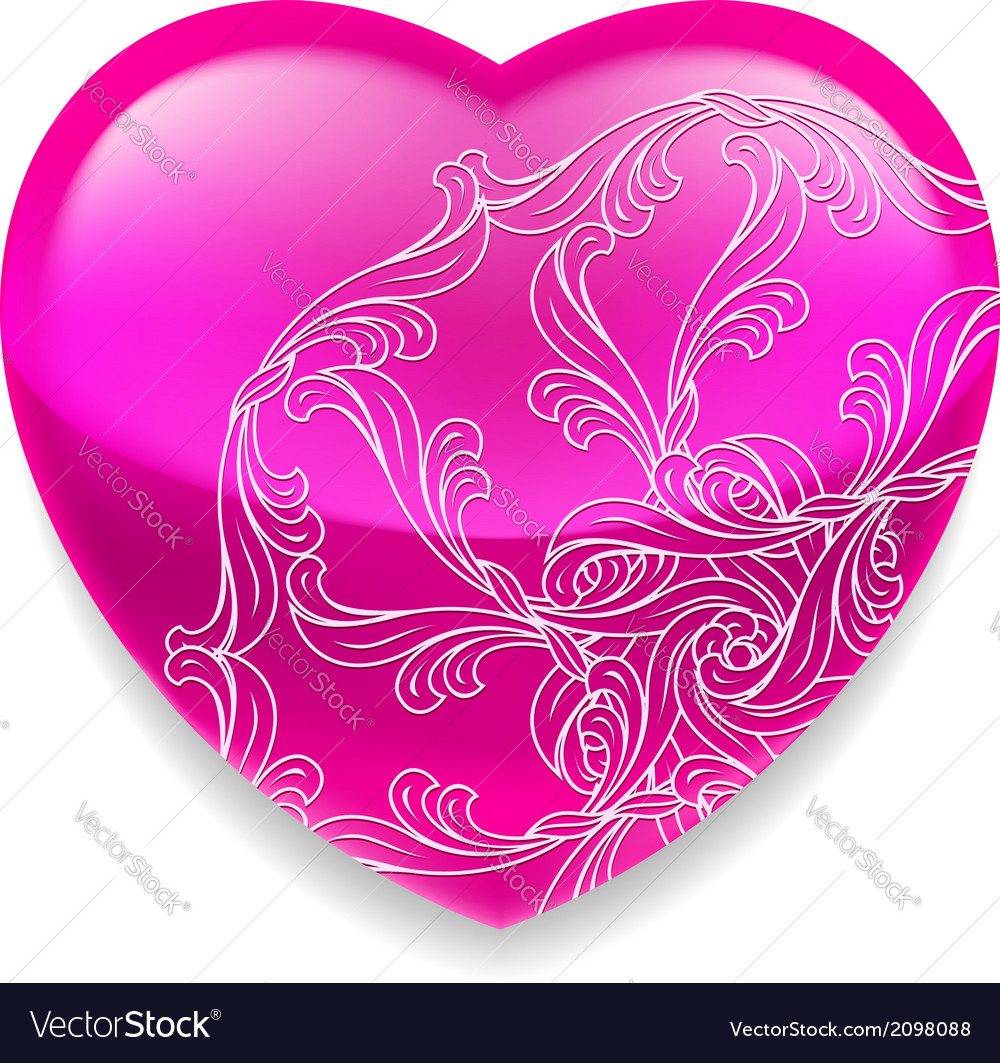 Shiny pink heart with decor vector | Price: 1 Credit (USD $1)