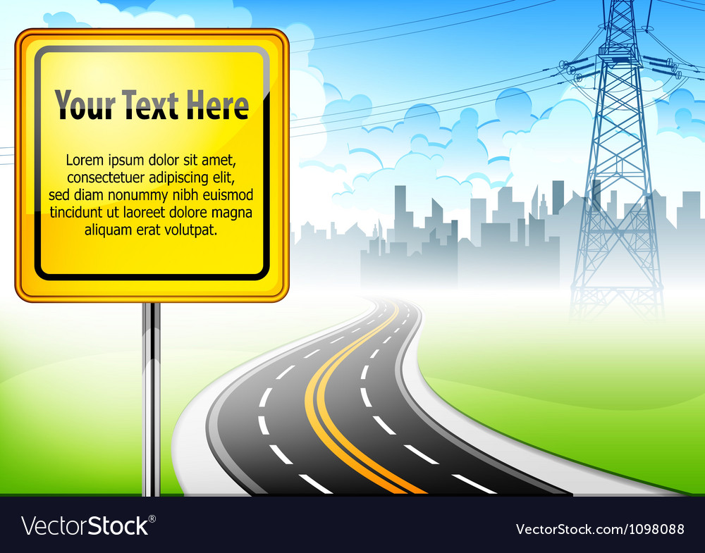 Yellow sign road vector | Price: 3 Credit (USD $3)