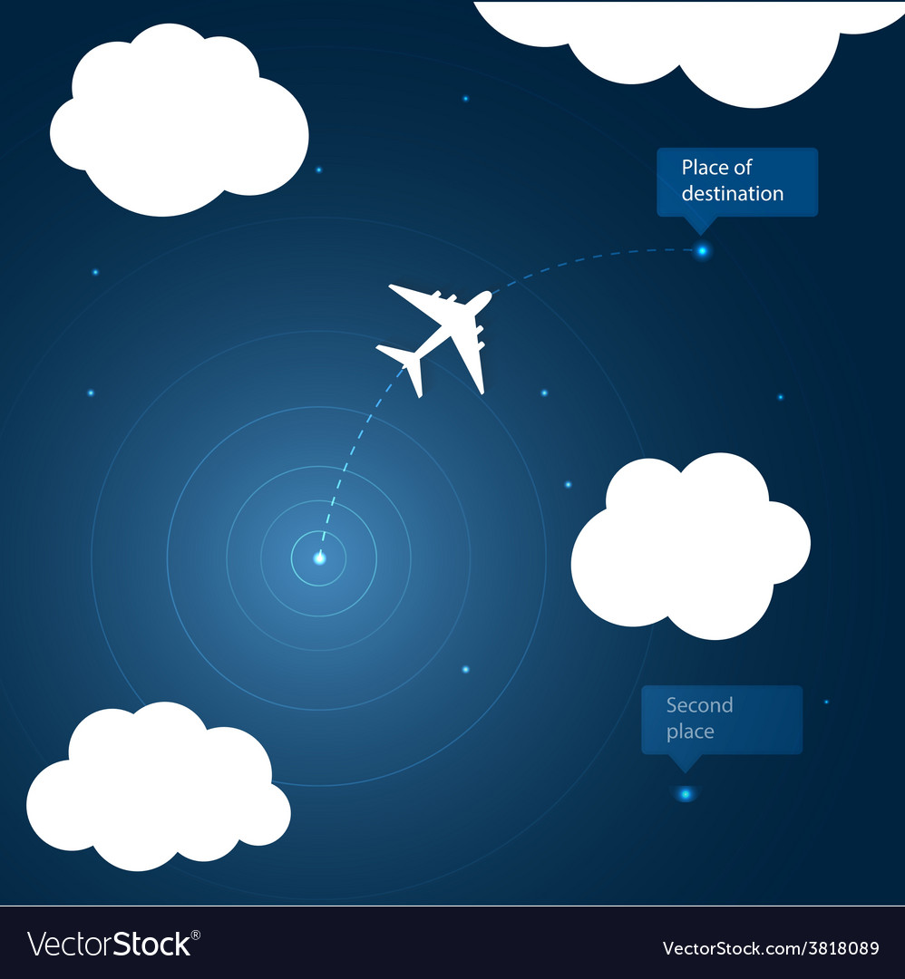 Airplane routes to place of destination vector | Price: 1 Credit (USD $1)