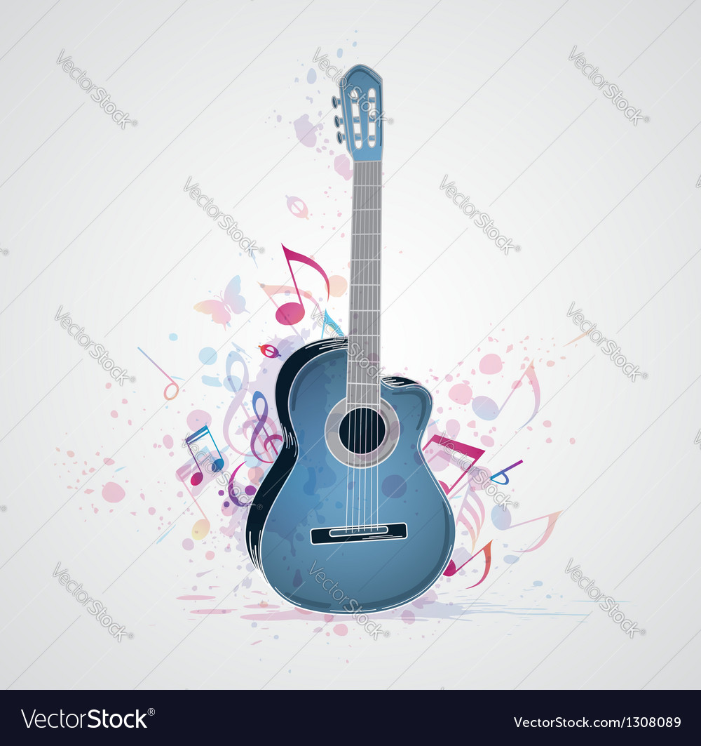 Blue guitar vector