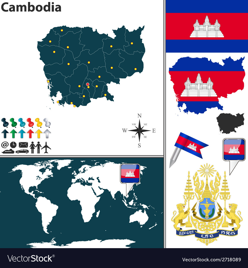 Cambodia map vector | Price: 1 Credit (USD $1)