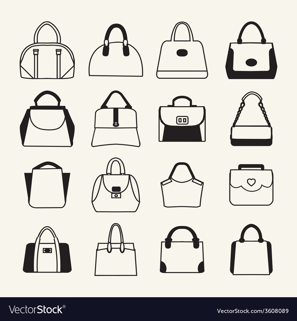 Collection of different fashion bags icon vector | Price: 1 Credit (USD $1)