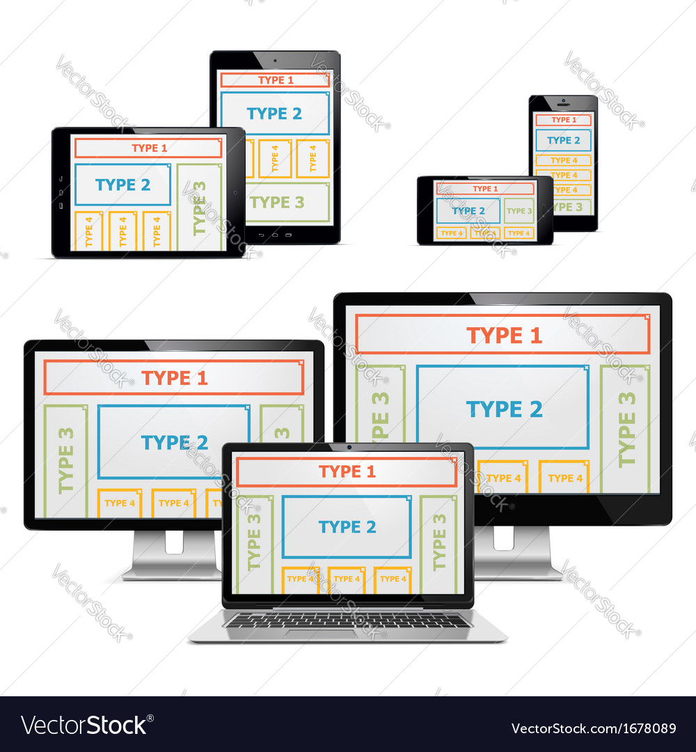 Computers with patterns set 2 vector | Price: 1 Credit (USD $1)