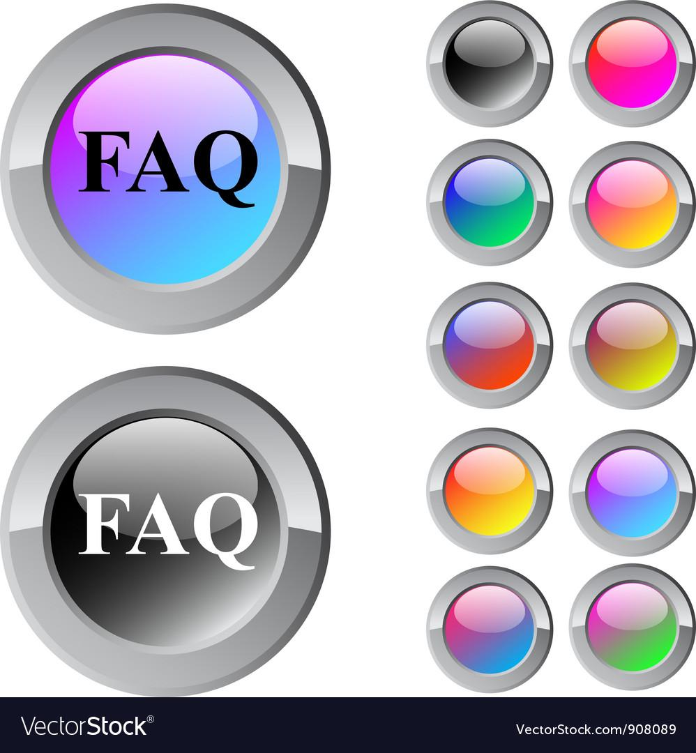 Faq multicolor round button vector | Price: 1 Credit (USD $1)