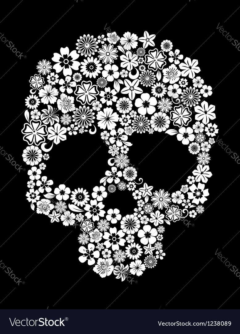 Human skull in floral style vector | Price: 1 Credit (USD $1)
