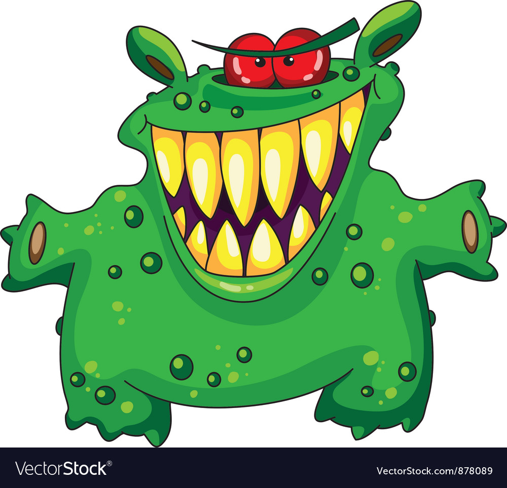 Laughing green monster vector | Price: 3 Credit (USD $3)