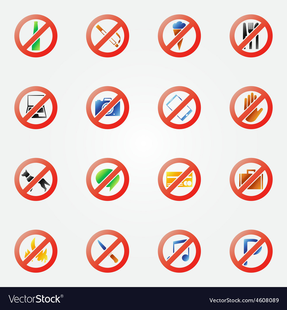 Restriction icons or symbols set vector | Price: 1 Credit (USD $1)