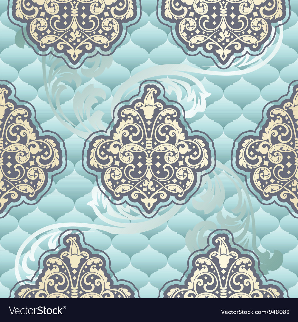 Seamless rococo floral in blue vector | Price: 1 Credit (USD $1)