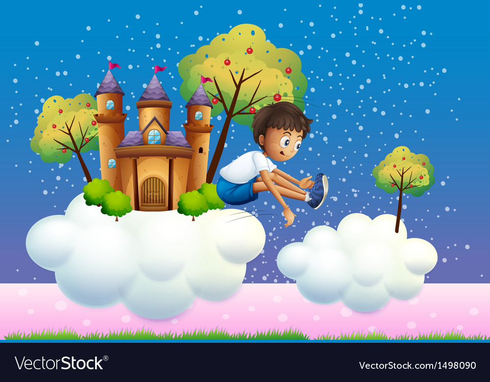 A boy jumping near the castle vector | Price: 1 Credit (USD $1)