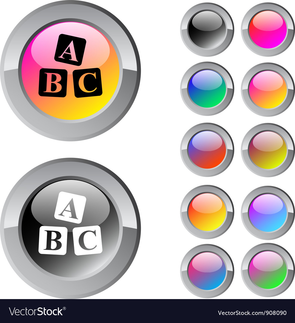 Abc cubes multicolor round button vector | Price: 1 Credit (USD $1)