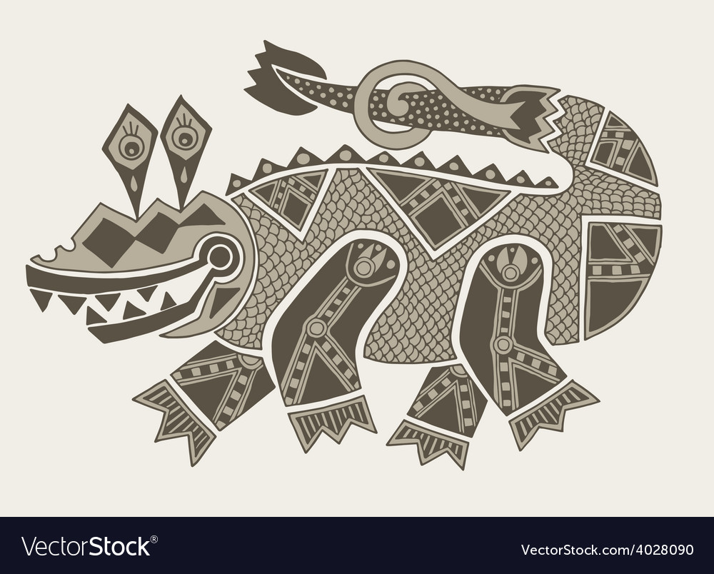 Authentic original decorative drawing of crocodile vector | Price: 1 Credit (USD $1)
