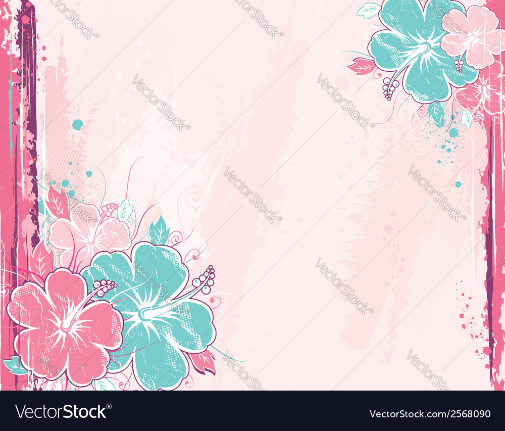 Bouquet of hibiscus on pink background vector | Price: 1 Credit (USD $1)