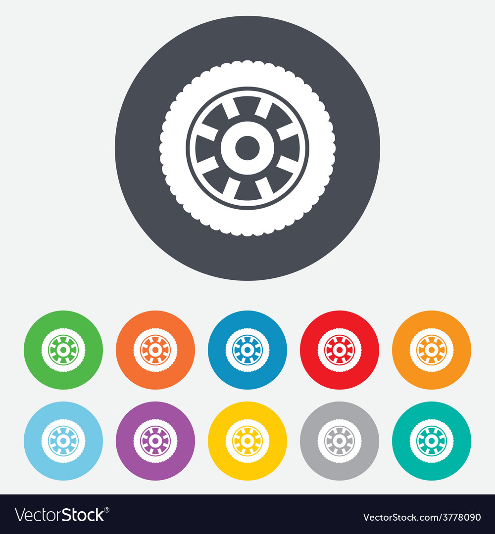 Car wheel sign icon circular transport component vector | Price: 1 Credit (USD $1)