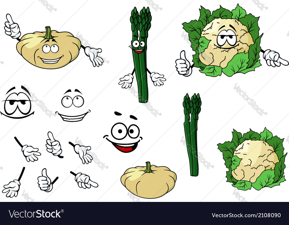 Cauliflower zucchini and spinach vegetables vector | Price: 1 Credit (USD $1)