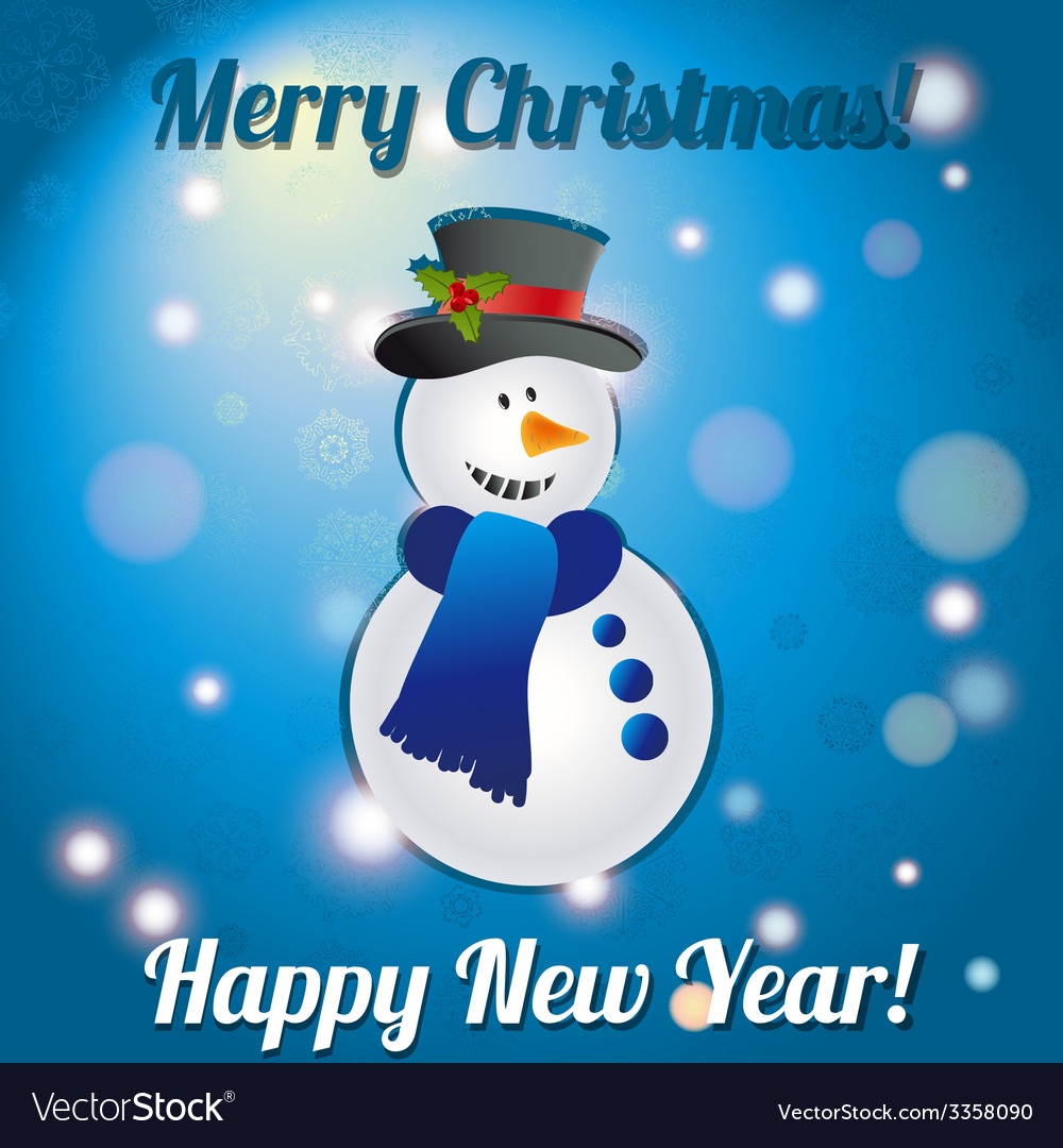 Christmas snowman a greeting card congratulations vector | Price: 1 Credit (USD $1)