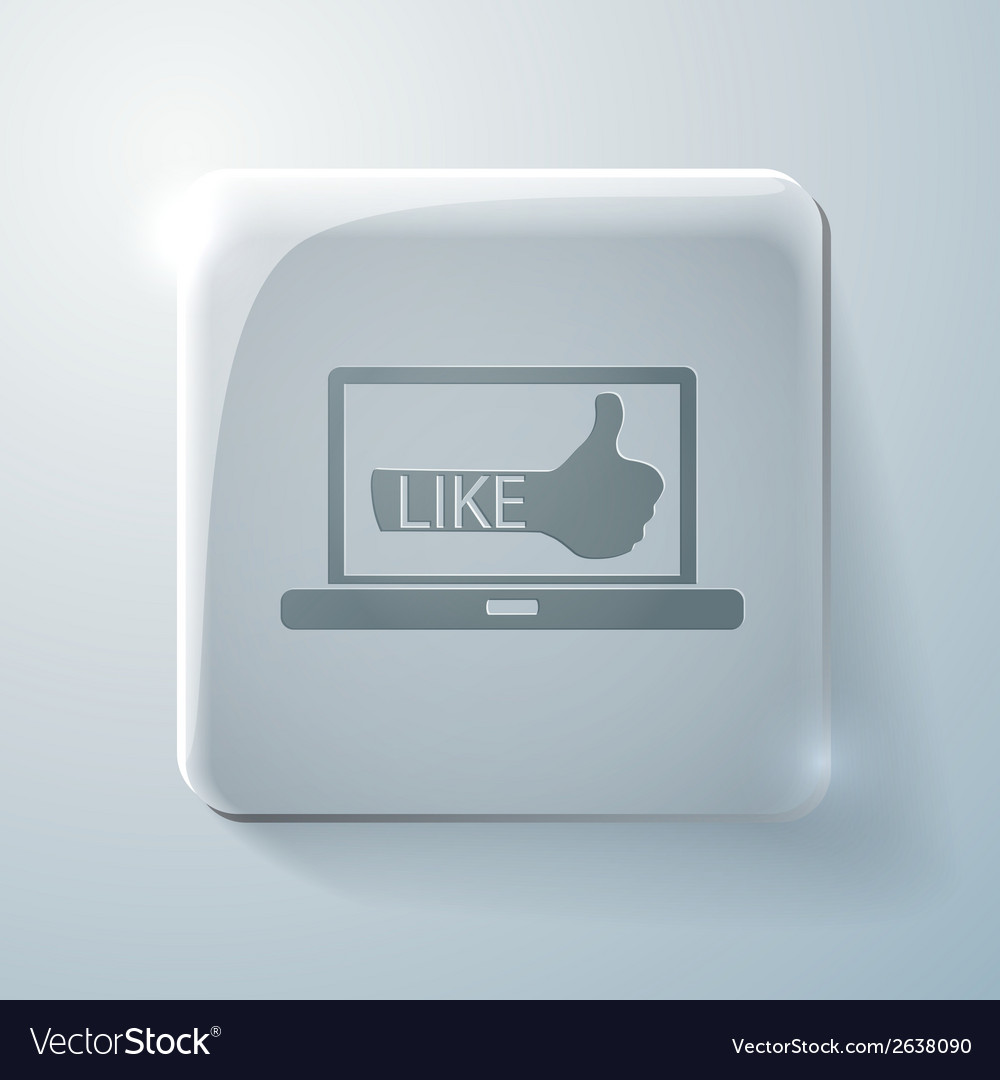 Glass square icon laptop with symbol thumb up vector | Price: 1 Credit (USD $1)