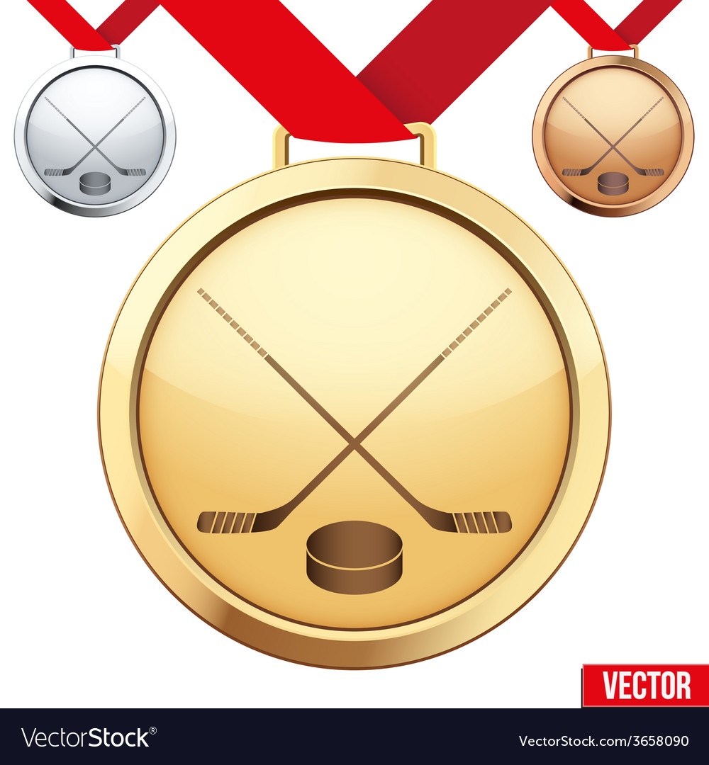 Gold medal with the symbol of ice hockey inside vector   Price: 1 Credit (USD $1)