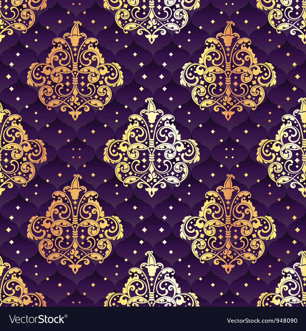 Purple seamless rococo floral vector | Price: 1 Credit (USD $1)