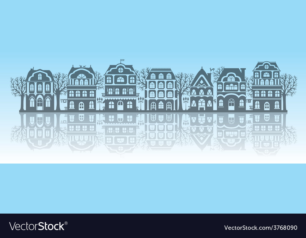Silhouettes of houses vector | Price: 1 Credit (USD $1)