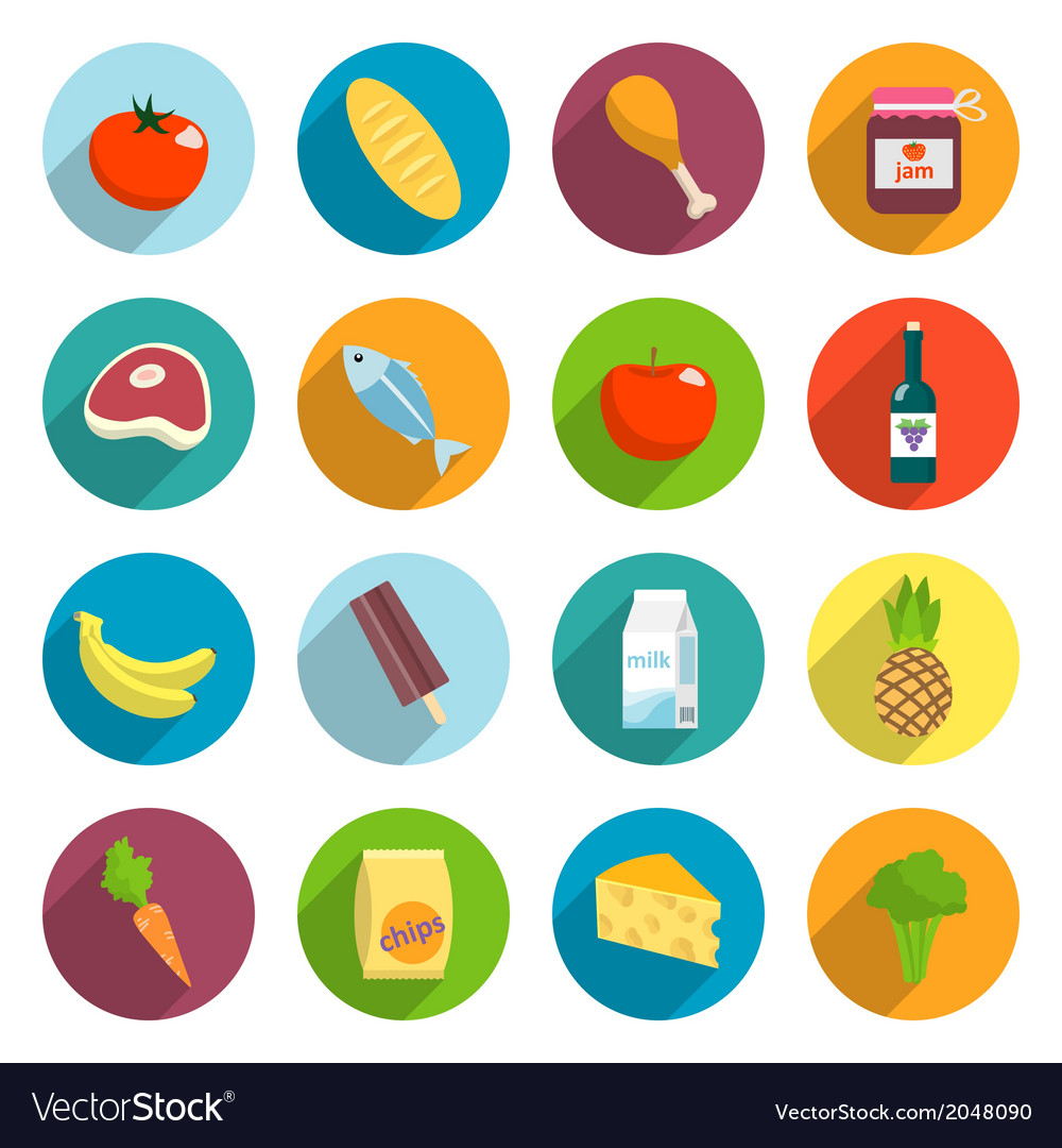 Supermarket foods flat icons set vector | Price: 1 Credit (USD $1)