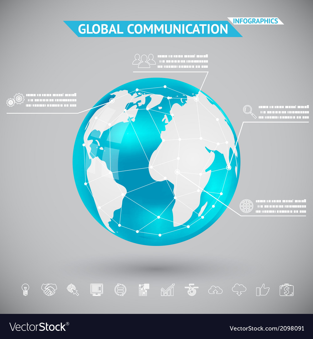 Abstract infographics global communication with vector | Price: 1 Credit (USD $1)