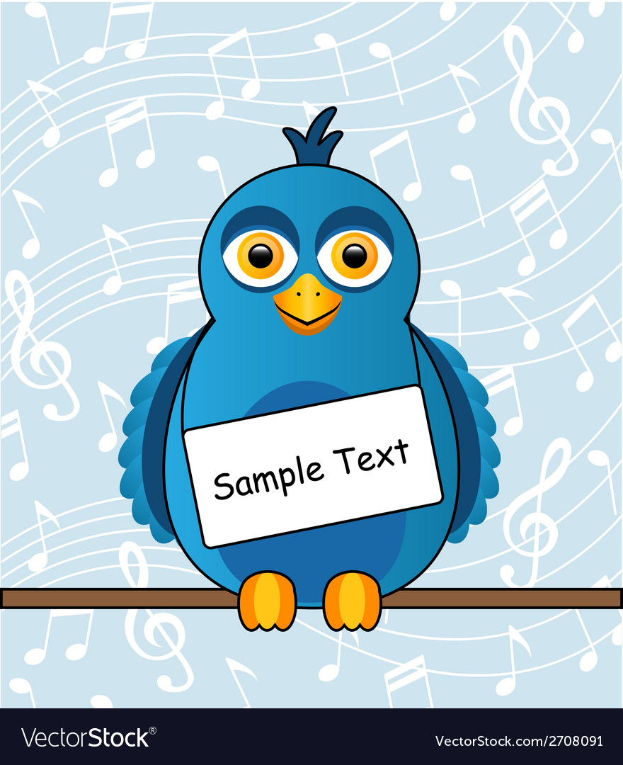 Blue bird with a sign vector   Price: 1 Credit (USD $1)