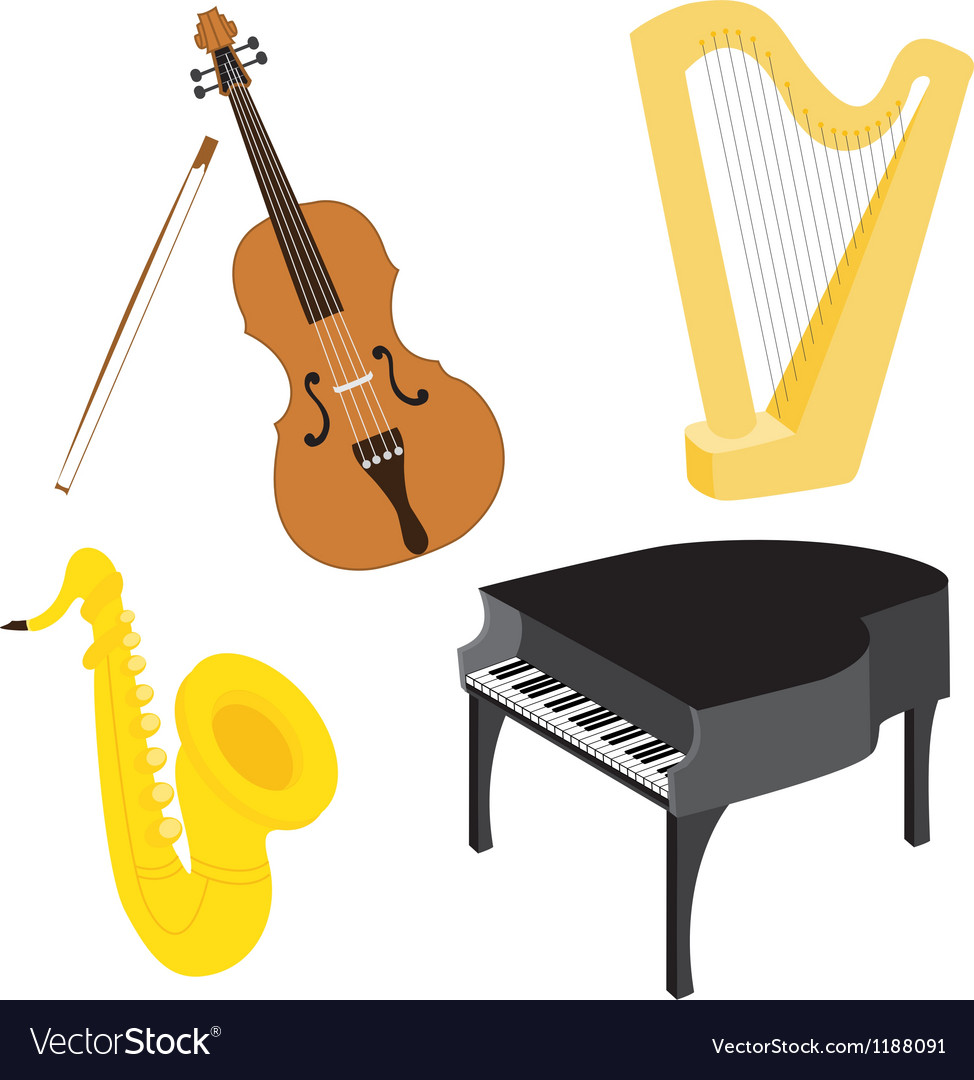 Cartoon music instruments set vector | Price: 1 Credit (USD $1)