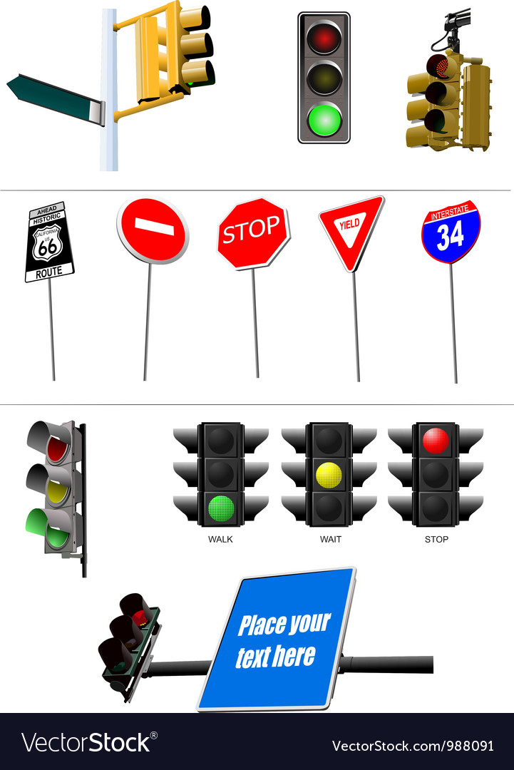 Collection of road signs vector | Price: 1 Credit (USD $1)