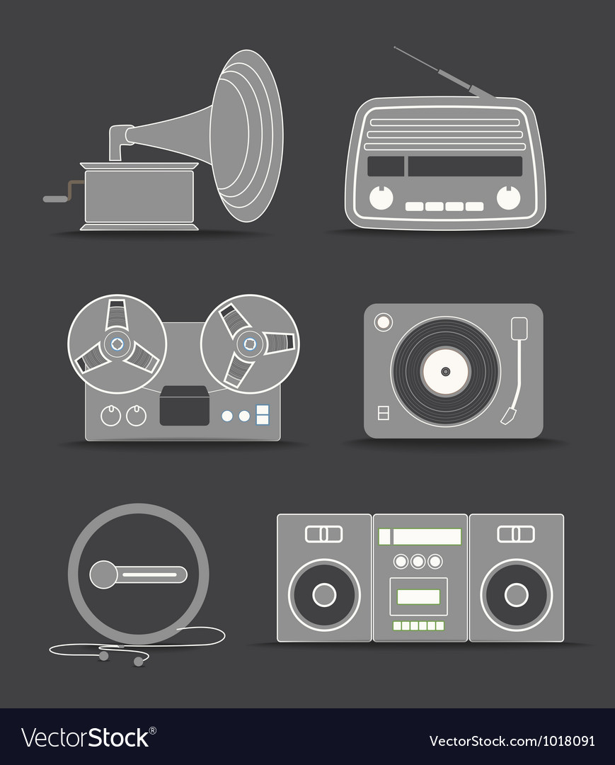 Digital and analogue music players icons vector | Price: 3 Credit (USD $3)