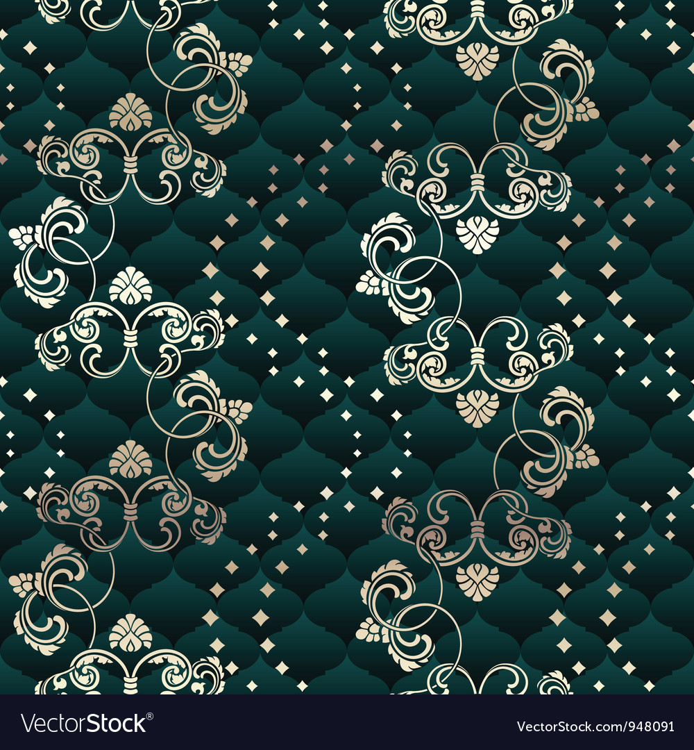 Green seamless rococo floral vector | Price: 1 Credit (USD $1)