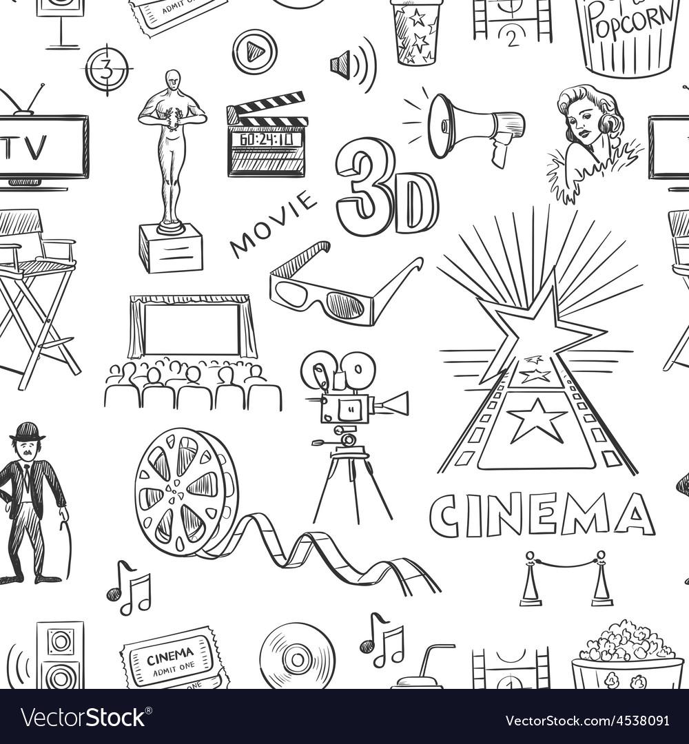 Hand drawn cinema pattern vector