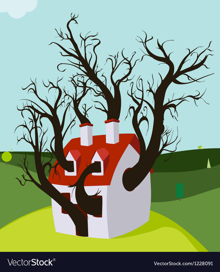 House tree grown inside vector | Price: 1 Credit (USD $1)