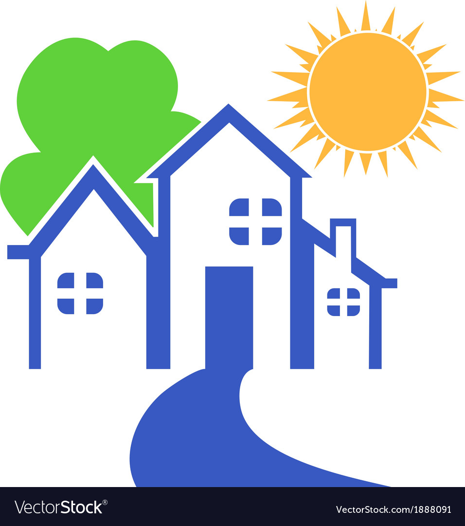 House with tree and sun logo vector | Price: 1 Credit (USD $1)