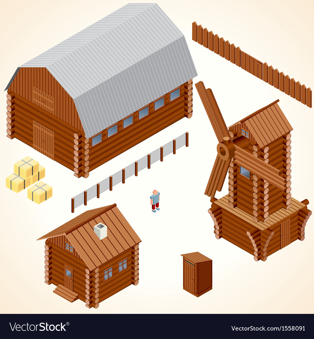 Isometric wooden cabins and house clip art vector | Price: 1 Credit (USD $1)