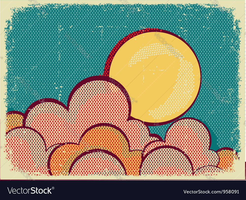 Moon and cloudsretro nature sky vector | Price: 1 Credit (USD $1)