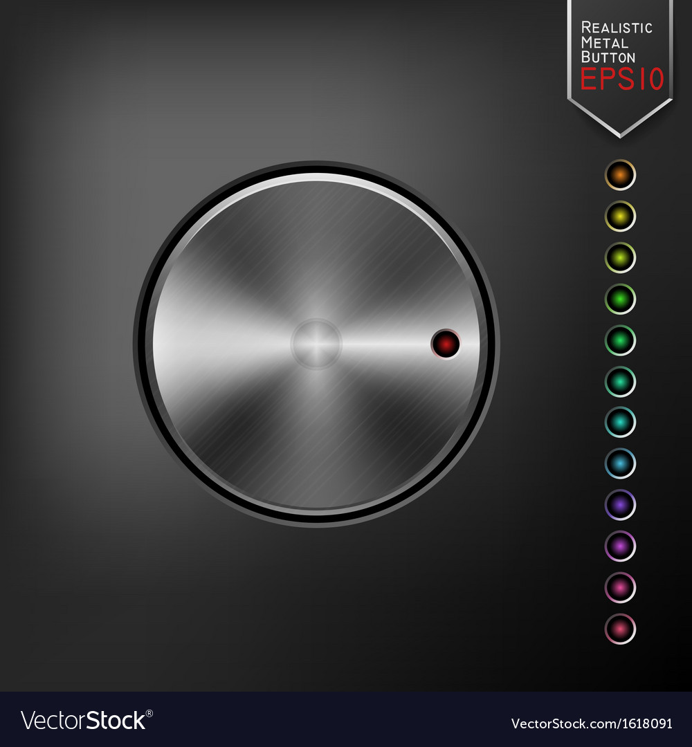 Realistic metal button vector | Price: 1 Credit (USD $1)