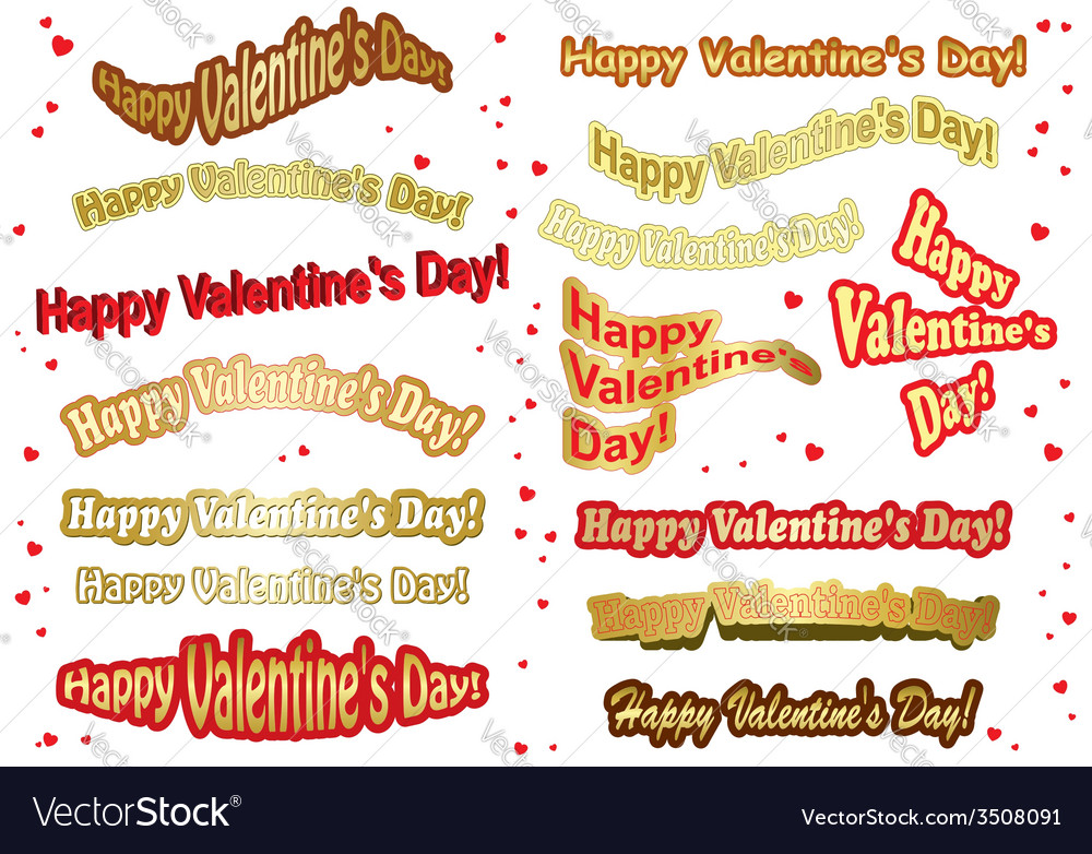 Set of stickers for valentine day vector | Price: 1 Credit (USD $1)