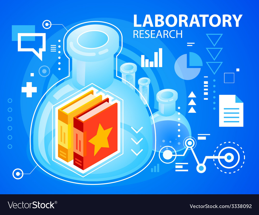 Bright laboratory research and books on blue vector | Price: 3 Credit (USD $3)