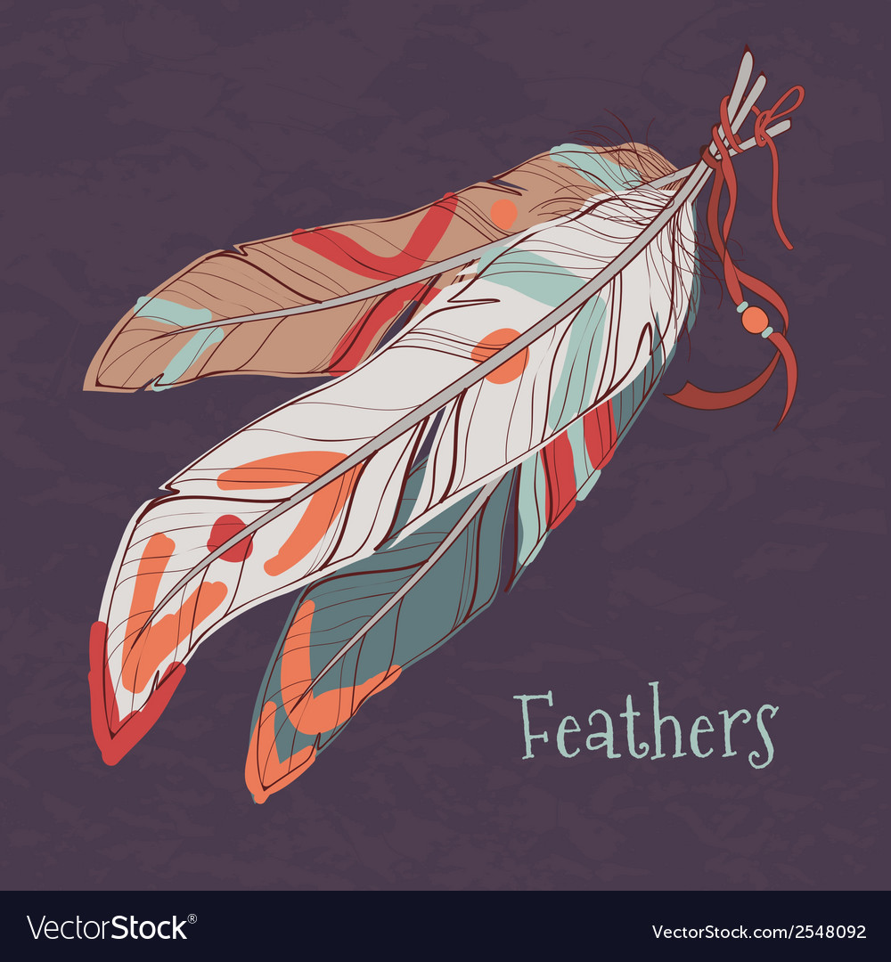 Ethnic decorative feathers vector | Price: 1 Credit (USD $1)