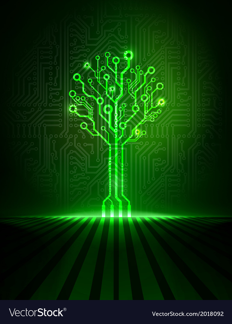 Green circuit tree vector | Price: 1 Credit (USD $1)