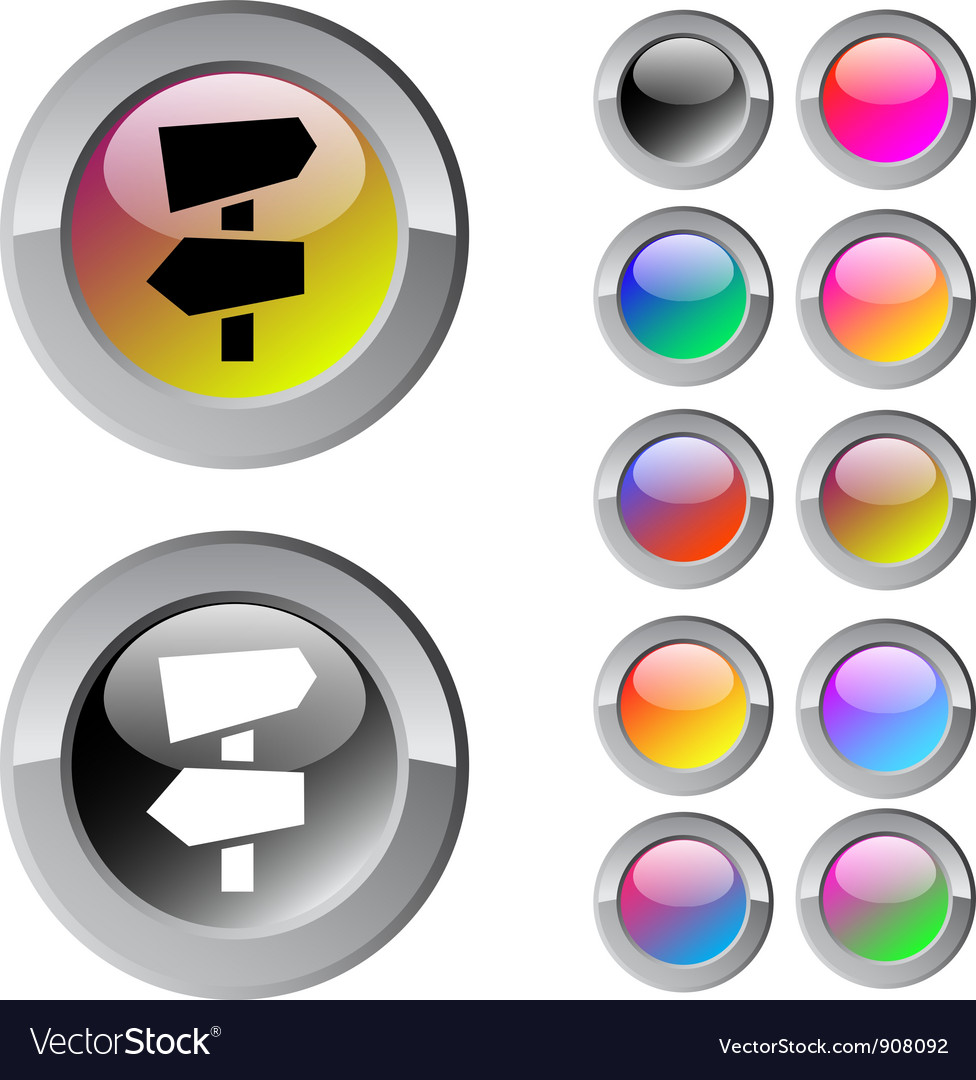 Road arrows multicolor round button vector | Price: 1 Credit (USD $1)