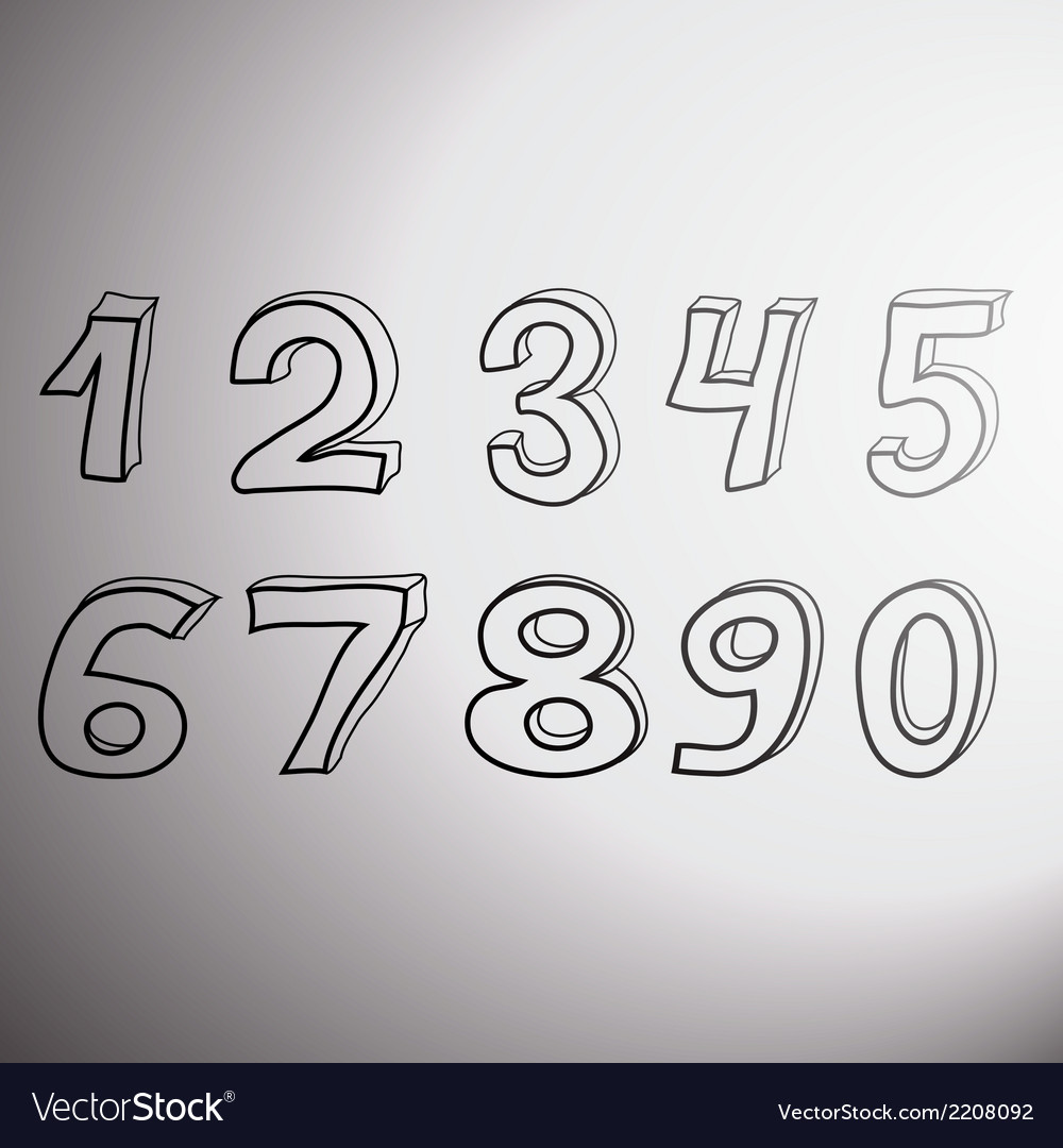 Set of artistic numbers vector | Price: 1 Credit (USD $1)