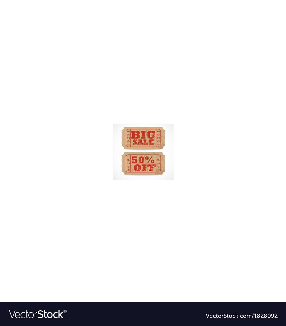 Vintage paper sale ticket vector | Price: 1 Credit (USD $1)