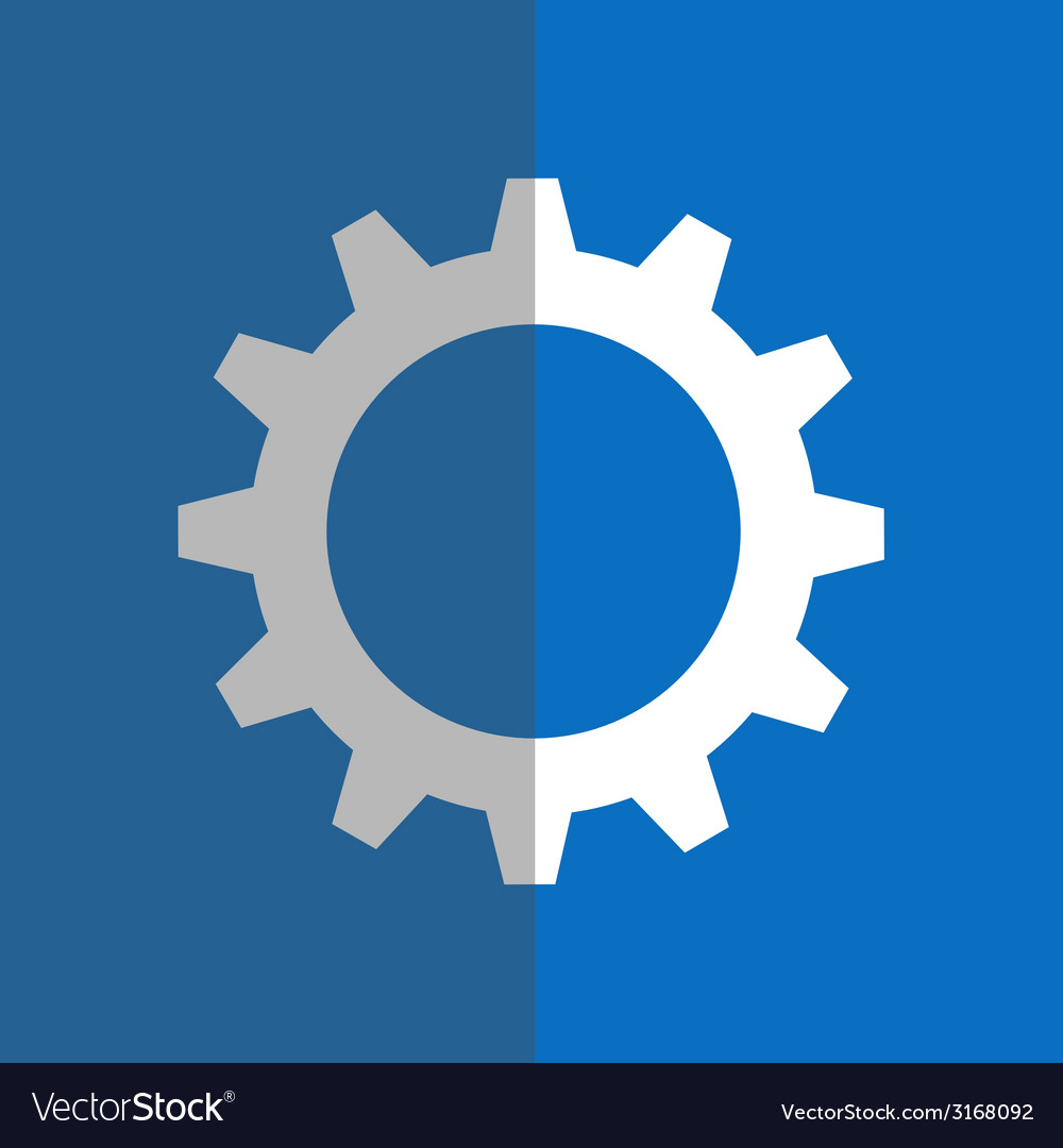 White gearwheel on blue background vector | Price: 1 Credit (USD $1)