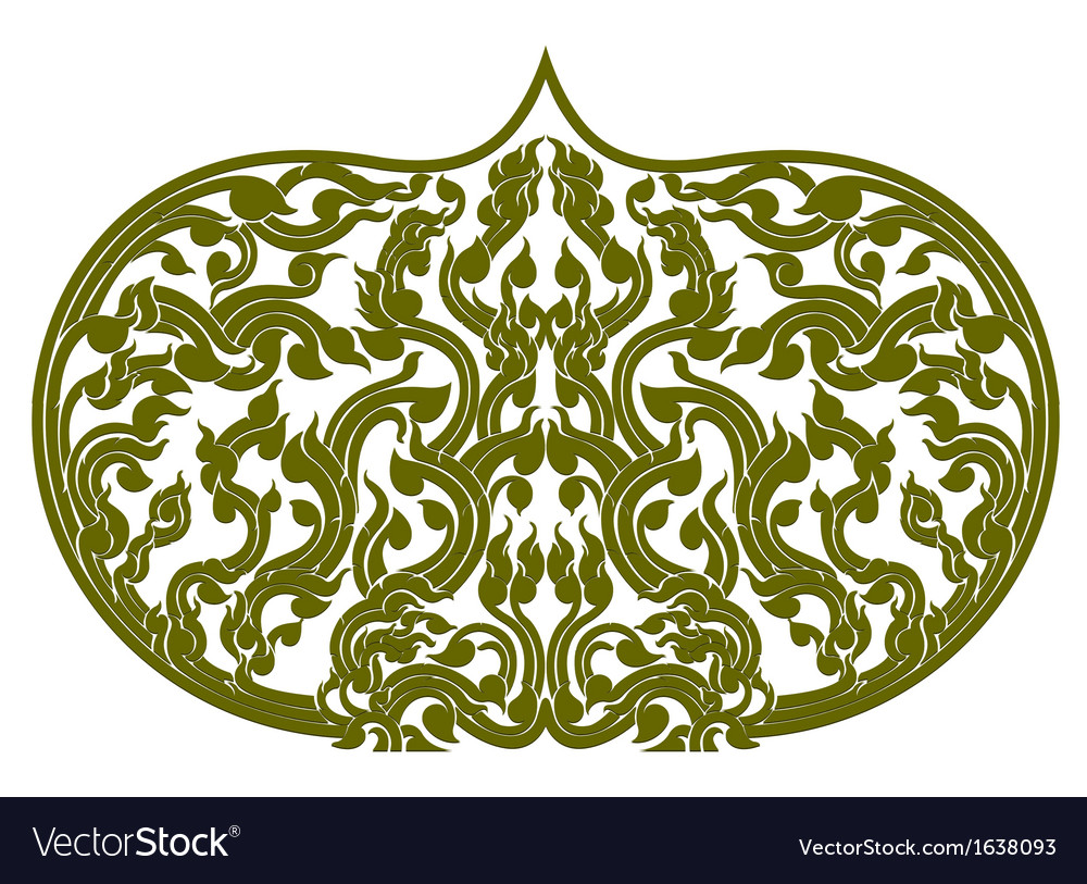 Asian art green color pattern on a white vector | Price: 1 Credit (USD $1)
