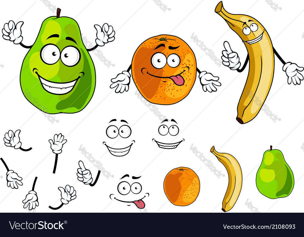 Banana pear and orange smiling fruits vector | Price: 1 Credit (USD $1)